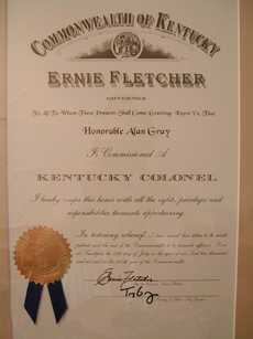 Kentucky Colonel Certificate