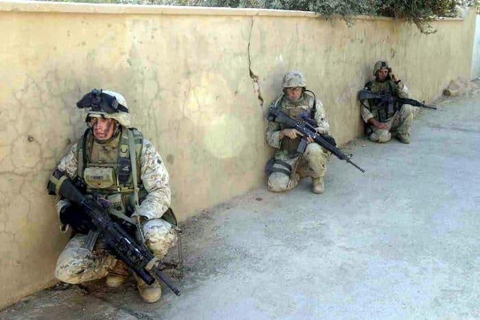 3rd Battalion, 1st Marine Regiment Marines and Iraqi Soldiers patrol Haditha.