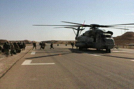 Marines board helicopters at Al Asad Airbase prior to Operation Steel Curtain.