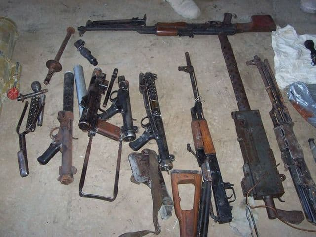 Weapons found in the insurgent weapons cache.