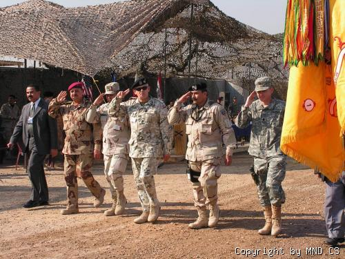 MultiNational Division leaders hand over responsibility to 2nd Brigade 4th US Division at Camp Charlie, Al Hillah.