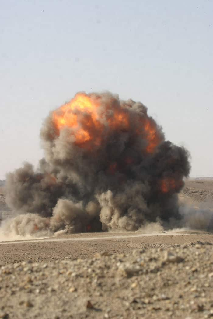 Ball of fire as explosives are destroyed.