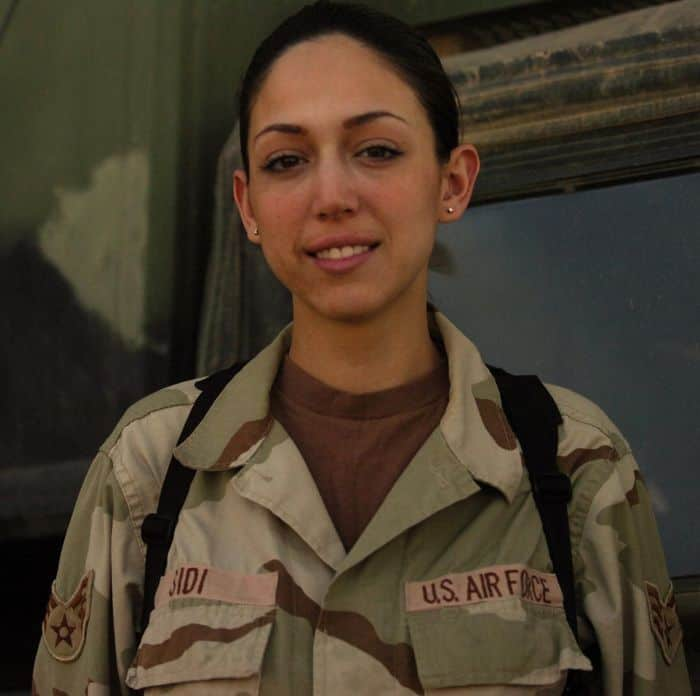 U.S. Air Force Senior Airman Romina Sidi tracks Iraqi Army and Iraqi Police construction projects