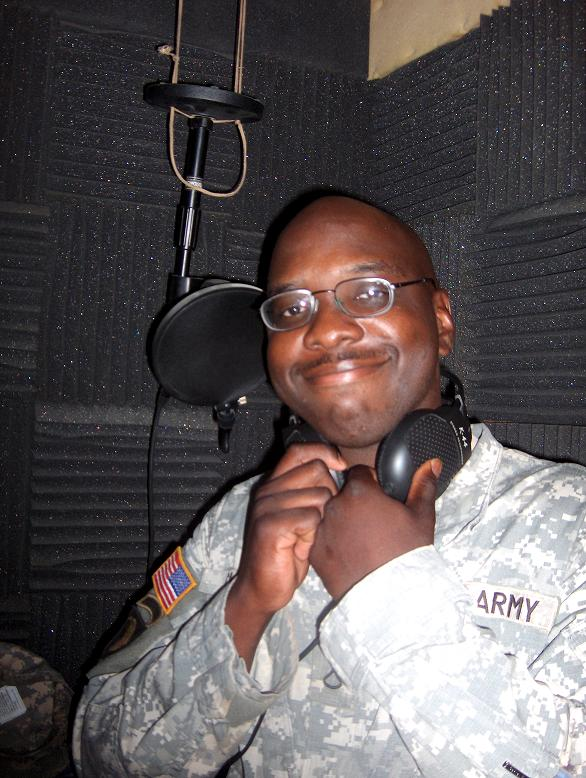 Pfc. Jacob T. Cherry shows the audio booth