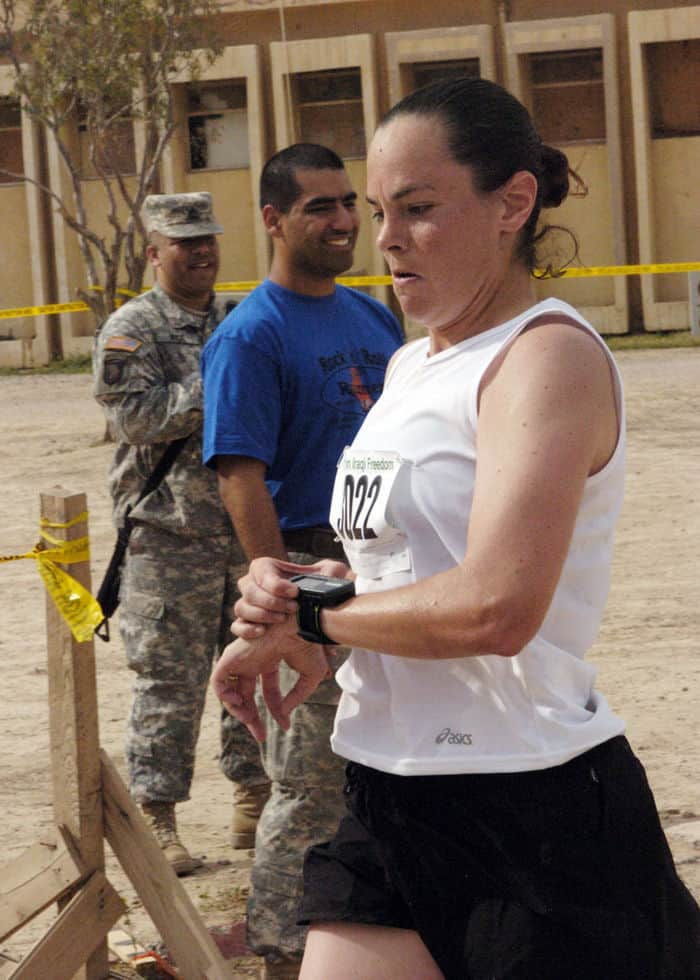 Captain Renee Vigilante, 101st Airborne crosses marathon finish line