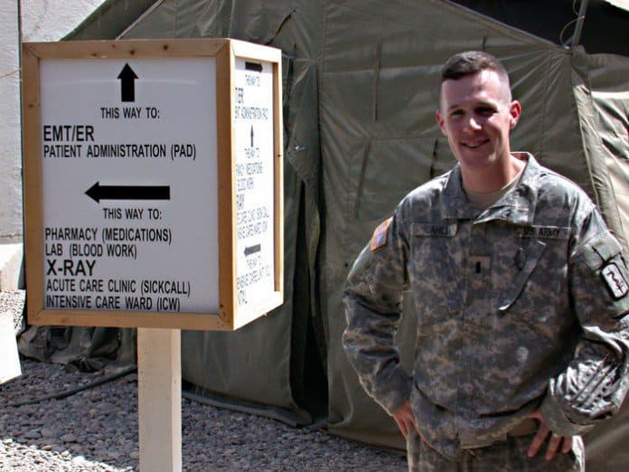 1st Lt. Brian Cahill, B company commander in the 47th Command Support Hospital