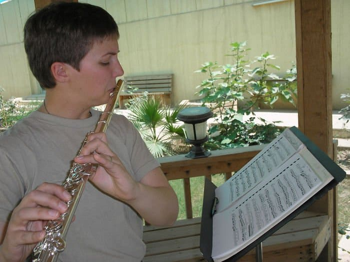 Sgt. Erica J. Coutsouridis, a flutist in the 101st Airborne Division Band