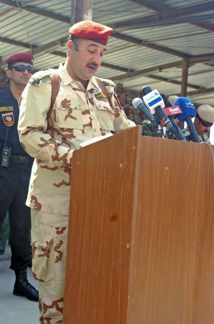 Iraqi Army Maj. Gen. Ahmed addresss his Soldiers at Transfer of Authority ceremony