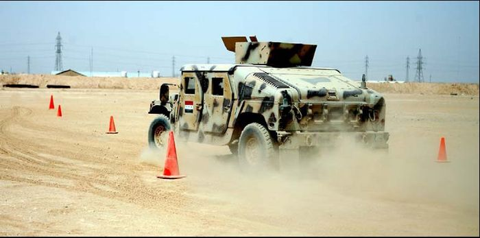 Iraqi student tests Humvee course