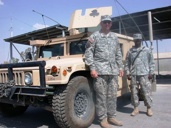 Sergeant 1st Class Mark Jordan and Army Staff Sgt. Tcherry Samedey