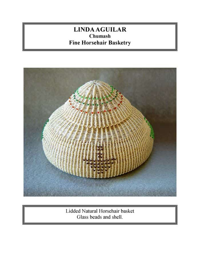 Lidded Natural Horsehair basket, glass beads and shell