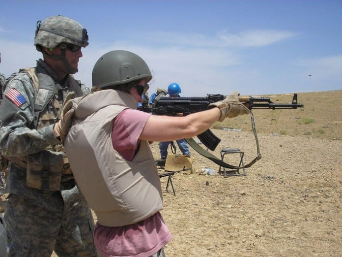 Shelby Monroe, embedded reporter learns to fire an AK 47