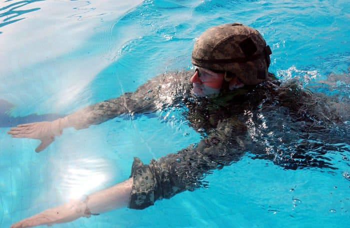 1st Lt. Sean Craig swims a 15 meter distance in his interceptor body armor system