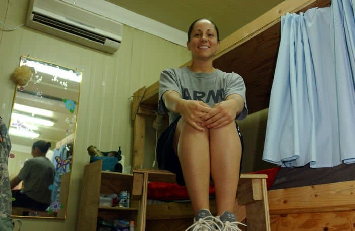 Sgt. Beth DiLonardo in her containerized housing unit at FOB Warhorse