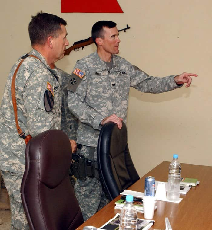 Lt. Gen. Peter Chiarelli, commanding general is introduced to battalion commanders by Col. Brian D. Jones, commander