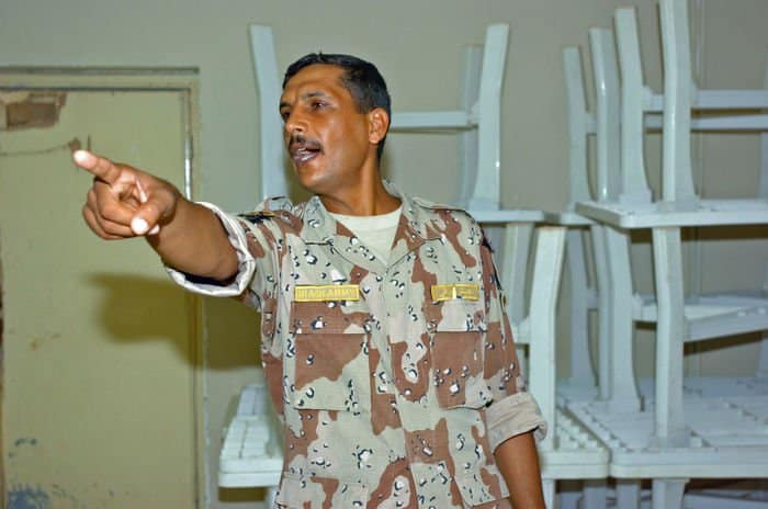 An Iraqi instructor makes a point during classroom training for new Iraqi Soldiers