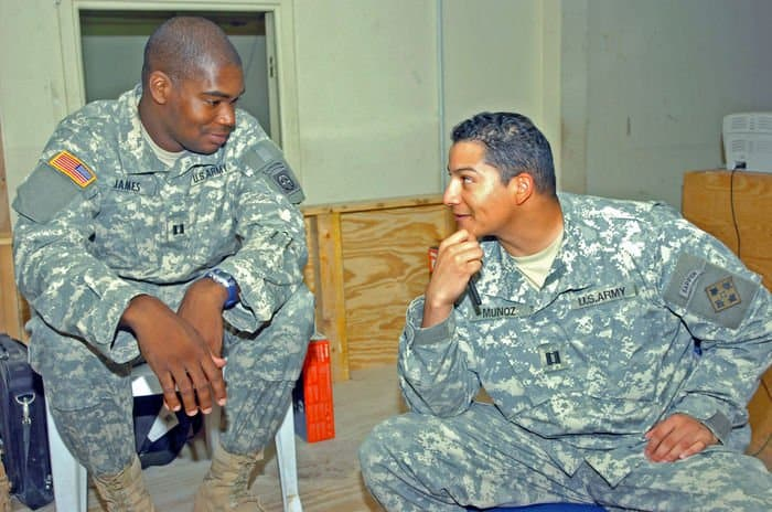 Capt. Joseph James with Capt. Steven Munoz