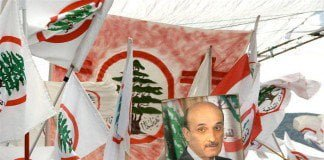 Followers of Samir Geagea at Harissa North of Beiruit show their support