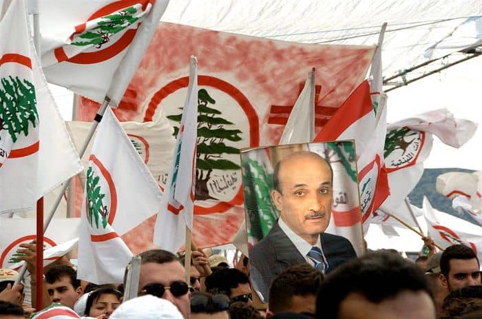Followers of Samir Geagea at Harissa North of Beiruit show their support