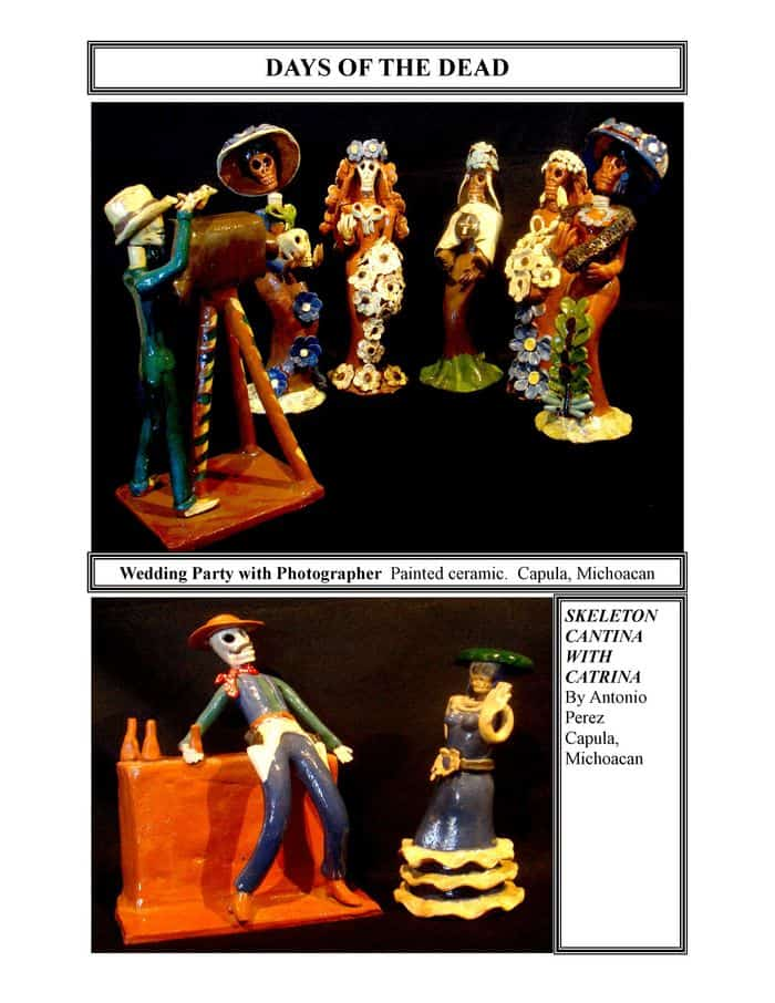 Days of the Dead, Wedding Party with Photographer, painted ceramic, Capula, Michoacan and Skeleton Cantina with Catrina, by Antonio Perez, Capula, Michoacan