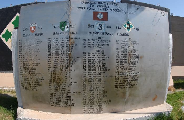 FOB Warhorse Memorial closeup, photo: SSG Sheryl L. Lawry
