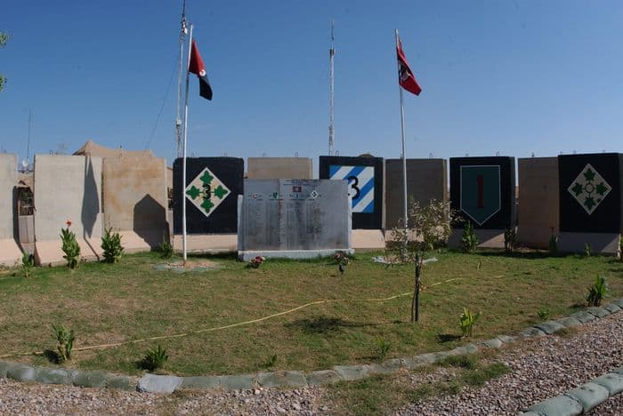 FOB Warhorse Memorial area with flags flying, photo: SSG Sheryl L. Lawry