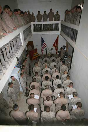 Marines packed the service to honor Sgt. Thomas M. Gilbert and Lance Cpl. Jonathan B. Thornsberr at FOB Black