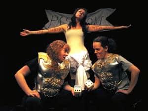Megan McGrath as soldier, Kirsta Peterson as Bottom/Pyramus, Amanda Bruton as soldier