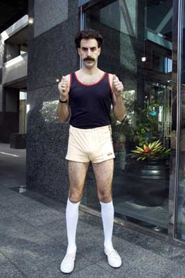 Borat Sagdiyev Sacha Baron Cohen in shorts