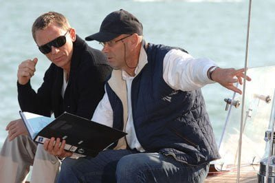 Daniel Craig working out a scene for Casino Royale
