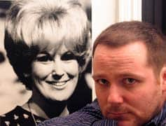 Sean Jenness as Jesse, a young man who comes to grips with Dusty Springfield by recreating her songs, with a photo of Dusty Springfield