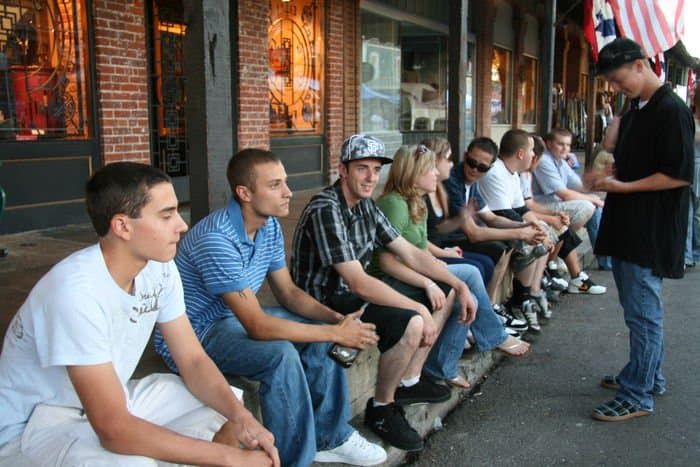 And the boys line up on Sutter Street.