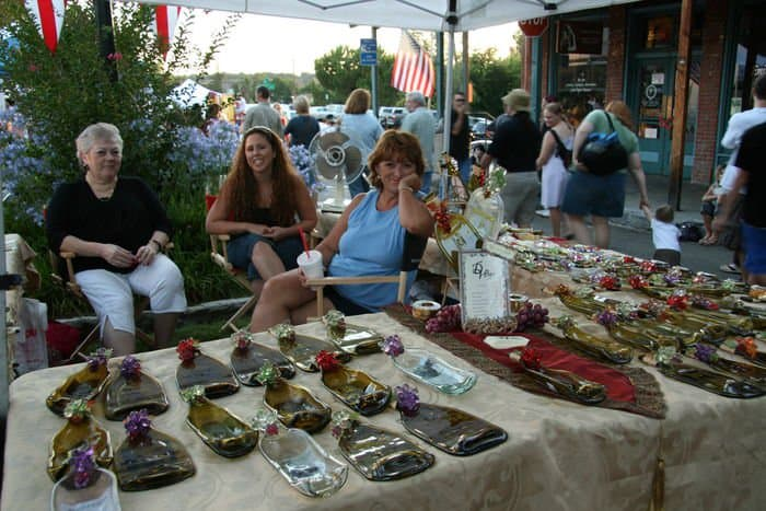 Beautiful market stalls at the Thursday Night Market in Folsom, CA.