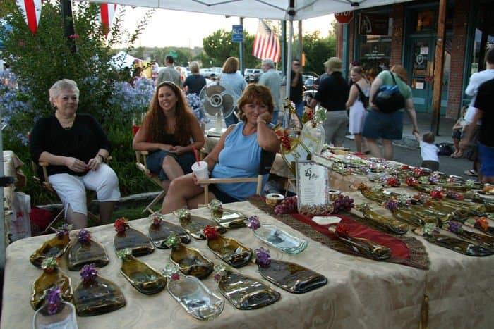 Beautiful market stalls at the Thursday Night Market in Folsom, CA.