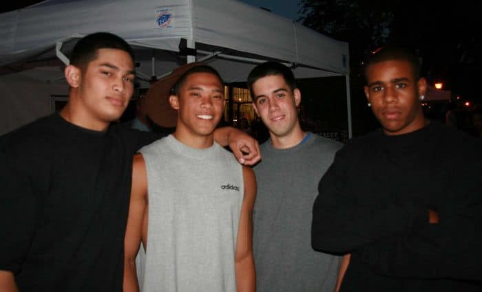 The boys are hanging out at the end of the Thursday Night Market, in Folsom, CA.