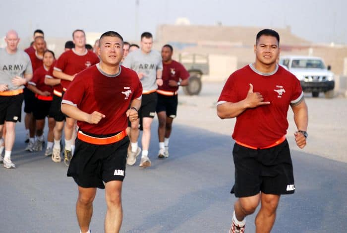 Soldiers of the 25th ID 325th Brigade Support Battalion complete a five kilometer spiritual run at FOB Warrior, Kirkuk, Iraq.