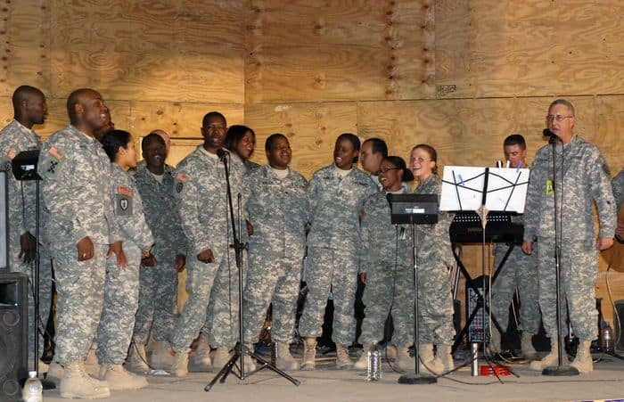 Performers gather for a final curtain call at Worshipalooza outdoor music concert at FOB Warrior, Kirkuk, Iraq.