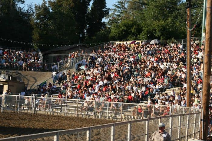 View of the crowd from the middle of The Folsom Pro Rodeo.