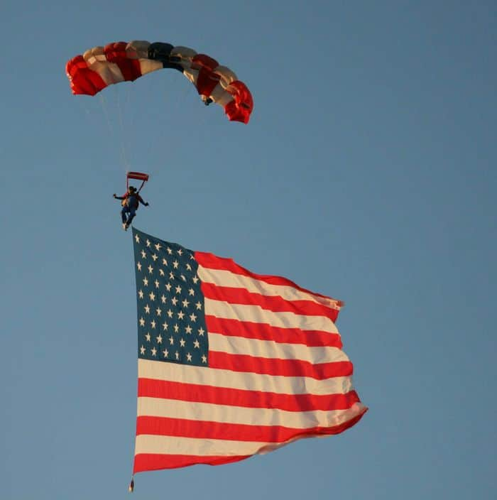 Parachuting a massive U.S. flag.