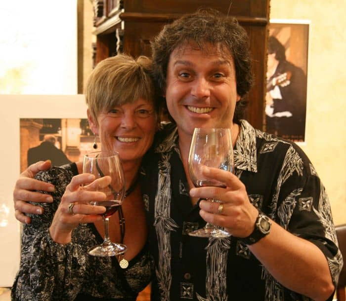 Photographer Billie Jean Redemeyer celebrates with Italian Virtuoso, Peppino DAgostino.