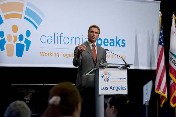 Governor Arnold Schwarzenegger discusses broken California health care system in Hollywood.