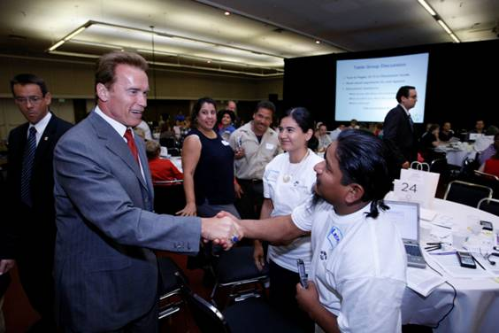 Governor Arnold Schwarzenegger in Fresno listening to Californians from all over the state discuss their health care.