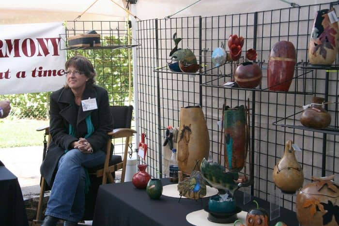 Intricate gourd art at Folsom Gourd and Arts Festival.