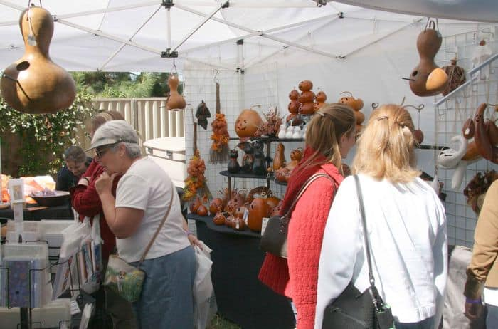 Browsing the art gourds.