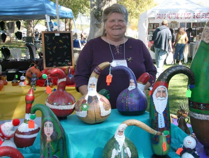 Stitched up gourds at the Folsom Gourd and Arts Festival.