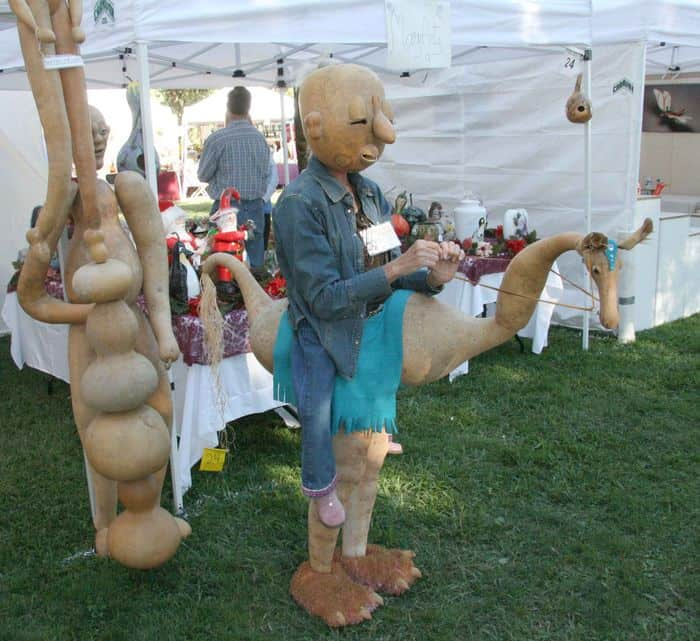 A view of vendor stalls down a pathway at Folsom Gourd and Arts Festival.