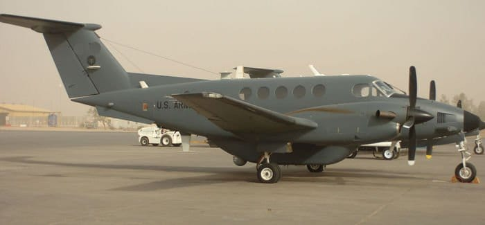 An Aerial Reconnaissance Multi Sensor aircraft sits outside Task Force ODIN at Contingency Operating Base Speicher.