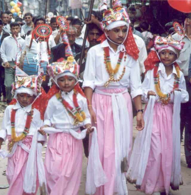 Boys in costume at Gai Jatra