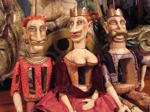 48 inch puppets by Jacob Krejci of Hamlet, The Queen and The King.