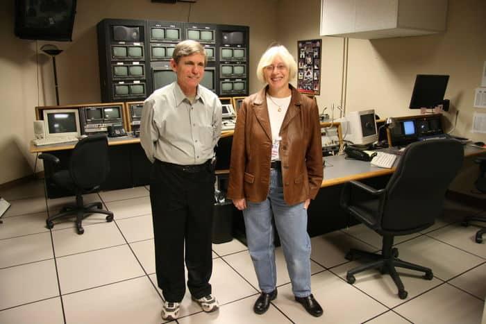 Bob Calvert and Sally in the Altitude TV studio.